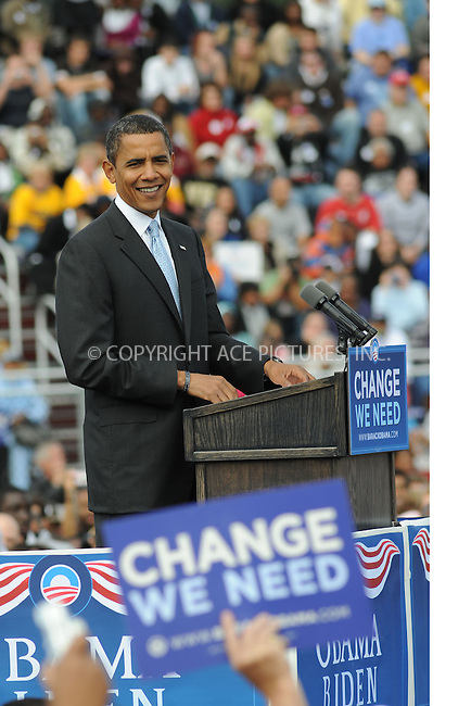 WWW.ACEPIXS.COM . . . . .....October 3, 2008. Abington, PA....Democratic presidential candidate Sen. Barack Obama attends a rally on October 3, 2008 in Abington, PA. He talks about the economic crisis and the new job loss numbers...  ....Please byline: Kristin Callahan - ACEPIXS.COM..... *** ***..Ace Pictures, Inc:  ..Philip Vaughan (646) 769 0430..e-mail: info@acepixs.com..web: http://www.acepixs.com