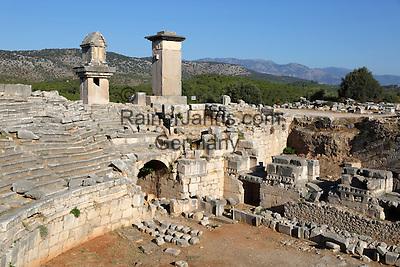 Turkey, Province Antalya, Kinik, near Kalkan: Amphitheatre and Harpy monument, Xanthos | Tuerkei, Provinz Antalya, Kinik bei Kalkan: Amphitheater and das Harpyienmonument (um 480 v. Chr.), einer der beiden vorroemischen Grabpfeiler