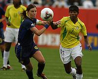 Malin Mostroem(Sweden) v  Formiga(Brazil).  2003 WWC Brazil/Sweden quarter final.