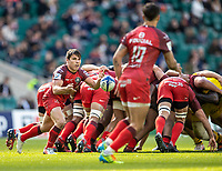 22nd May 2021; Twickenham, London, England; European Rugby Champions Cup Final, La Rochelle versus Toulouse; Antoine Dupont of Toulouse passes the ball behind the maul