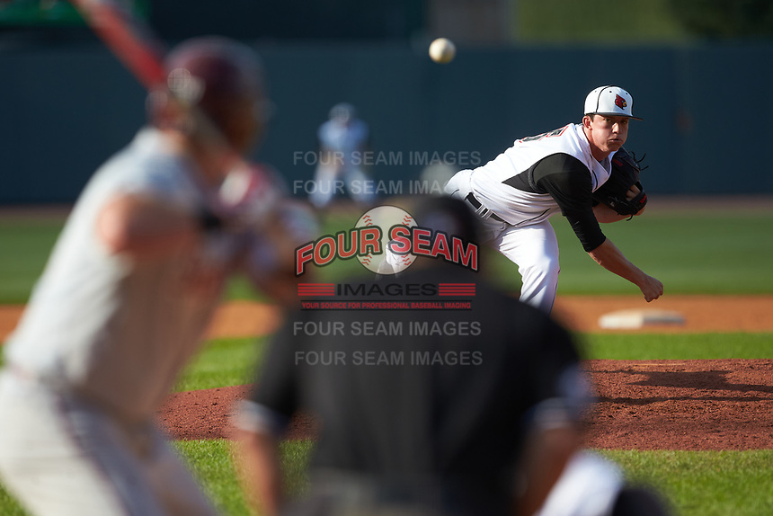 Louisville Cardinals relief pitcher Lincoln Henzman (15) in action against the Florida State Seminoles in Game Eleven of the 2017 ACC Baseball Championship at Louisville Slugger Field on May 26, 2017 in Louisville, Kentucky. The Seminoles defeated the Cardinals 6-2. (Brian Westerholt/Four Seam Images)
