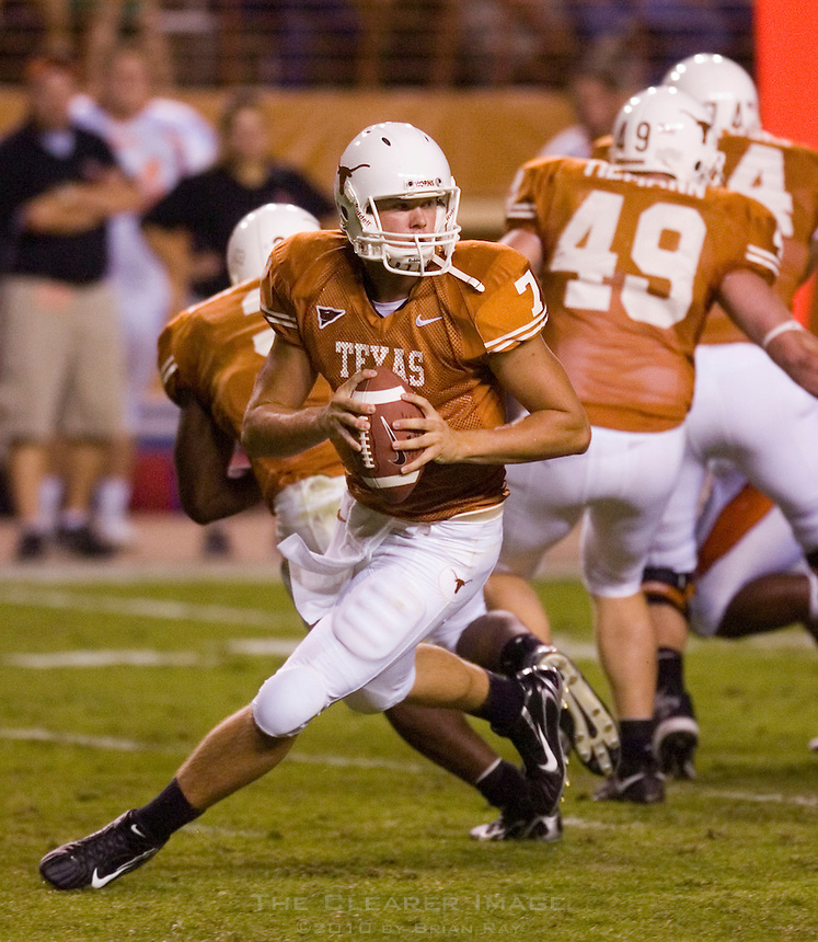 30 September 2006: Texas quarterback Jevan Snead rolls out of the pocket during the Longhorns 56-3 victory over the Sam Houston State Bearkats at Darrell K Royal Memorial Stadium in Austin, TX.