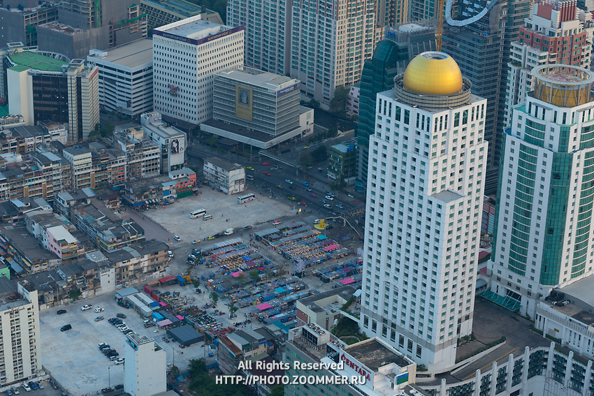 Neon market aerial view in Bangkok from the Baiyoke tower skyscraper