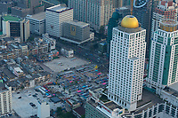 Neon market aerial view in Bangkok from the Baiyoke tower skyscraper