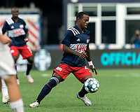 FOXBOROUGH, MA - JULY 23: Michel #48 of New England Revolution II collects a pass during a game between Toronto FC II and New England Revolution II at Gillette Stadium on July 23, 2021 in Foxborough, Massachusetts.
