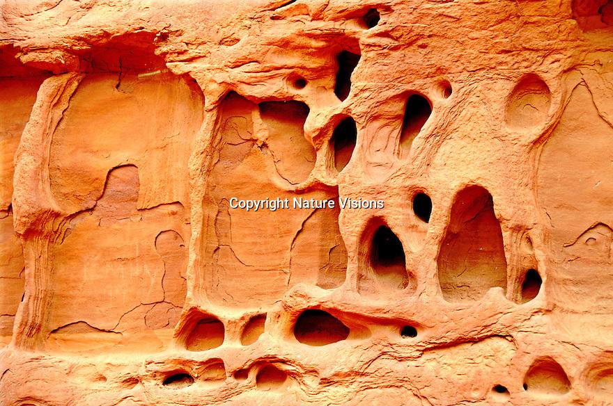 GEOLOGICAL EROSION OF SANDSTONE WALL<br /> CANYONLANDS NATIONAL PARK, UTAH