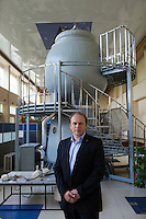 Star City, Moscow, Russia, 17/06/2011..Oleg Kotov, the 100th cosmonaut in space, at the Star City training complex with the tiny Soyuz capsule used for space launches.