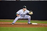 Siena Saints first baseman Joe Drpich (47) catches a throw for an out during a game against the UCF Knights on February 17, 2017 at UCF Baseball Complex in Orlando, Florida.  UCF defeated Siena 17-6.  (Mike Janes/Four Seam Images)