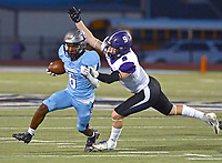 Fort Smith Southside wide receiver Desmond Lopez-Fulbright (6) attempts to escape from Fayetteville linebacker Kaiden Turner (9) after a reception on Friday, Oct. 8, 2021 in Fort Smith. (Special to NWA Democrat Gazette/Brian Sanderford)