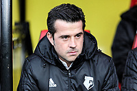 Watford manager Marco Silva sits in the dugout during the Premier League match between Watford and Swansea City at the Vicarage Road, Watford, England, UK. Saturday 30 December 2017