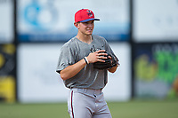 Elizabethton Twins third baseman Andrew Bechtold (47) on defense during batting practice prior to the game against the Danville Braves at American Legion Post 325 Field on July 1, 2017 in Danville, Virginia.  The Twins defeated the Braves 7-4.  (Brian Westerholt/Four Seam Images)