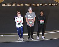 14th February 2020; Glasgow, Scotland;  Laura Muir GBR, Shelly-Ann Fraser-Pryce JAM and Mondo Duplantis SWE took part in a pre-event photocall.