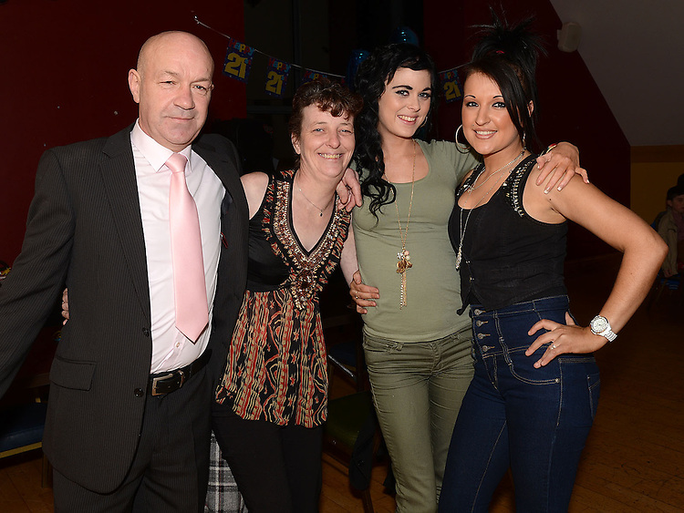 John McGuinness, Shirley Owens, Chloe Kennedy and Elsa Whelan pictured at Darragh Maguire's 21st birthday in the Thatch. Photo:Colin Bell/pressphotos.ie
