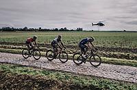 ultimate leading trio:  Mathieu van der Poel (NED/Alpecin Fenix),  Sonny Colbrelli (ITA/Bahrain - Victorious) & Florian Vermeersch (BEL/Lotto Soudal)<br /> <br /> 118th Paris-Roubaix 2021 (1.UWT)<br /> One day race from Compiègne to Roubaix (FRA) (257.7km)<br /> <br /> ©kramon