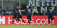 Football Soccer: UEFA Champions League FC Internazionale Milano vs Tottenham Hotspur FC, Giuseppe Meazza stadium, September 15, 2018.<br /> Inter's Matias Vecino (l) celebrates after scoring with his teammates during the Uefa Champions League football match between Internazionale Milano and Tottenham Hotspur at Giuseppe Meazza (San Siro) stadium, September 18, 2018.<br /> UPDATE IMAGES PRESS/Isabella Bonotto
