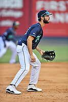 Asheville Tourists third baseman Joe Perez (8) during a game against the Bowling Green Hot Rods on May 27, 2021 at McCormick Field in Asheville, NC. (Tony Farlow/Four Seam Images)