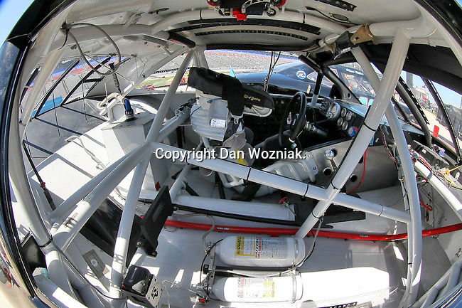A inside shot of a race car during the Nascar Sprint Cup Series practice session at Texas Motor Speedway in Fort Worth,Texas.
