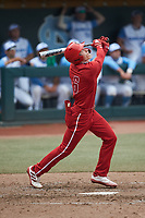 Vojtech Mensik (6) of the North Carolina State Wolfpack follows through on his swing against the North Carolina Tar Heels at Boshamer Stadium on March 27, 2021 in Chapel Hill, North Carolina. (Brian Westerholt/Four Seam Images)