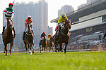 SHA TIN,HONG KONG-APRIL 30: Neorealism,ridden by Joao Moreira (red cap) ,wins the Audemars Piguet QEII Cup at Sha Tin Racecourse on April 30,2017 in Sha Tin,New Territories,Hong Kong (Photo by Kaz Ishida/Eclipse Sportswire/Getty Images)