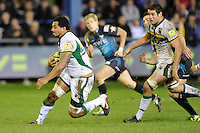 Samu Manoa of Northampton Saints faces up to Tom Grabham of Ospreys during the LV= Cup second round match between Ospreys and Northampton Saints at Riverside Hardware Brewery Field, Bridgend (Photo by Rob Munro)