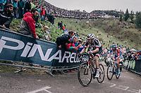 Tom Dumoulin (NED/Sunweb) & Thibaut Pinot (FRA/Groupama-FDJ) up the infamous Monte Zoncolan (1735m/11%/10km)<br /> <br /> stage 14 San Vito al Tagliamento – Monte Zoncolan (186 km)<br /> 101th Giro d'Italia 2018