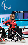 Sochi, RUSSIA - Mar 7 2014 -  Sonja Gaudet of Canada's Wheelchair Curling Team trains before the Sochi 2014 Paralympic Winter Games in Sochi, Russia.  (Photo: Matthew Murnaghan/Canadian Paralympic Committee)