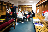 02-02-2014,Czech Republic, Ostrava, Cez Arena, Davis Cup Czech Republic vs Netherlands, ,  Dressing room, before play starts, Players relaxing, l.t.r.: Team manager Marc Wolfertz, Thiemo de Bakker, stringer Ralph Pieterman, Robin Haase and Captain Jan Siemerink<br /> Photo: Henk Koster