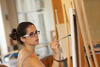 Professor Ed Kerns painting class on monday april 23,2007..4108.Art CLass.Painting.Williams Visual Arts Building