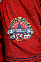 23 September 2007: The Washington Nationals commemorate the very last professional baseball game at RFK Stadium with a special patch on their jerseys. The final game was against the Philadelphia Phillies at Robert F. Kennedy Memorial Stadium in Washington, DC. The Nationals defeated the visiting Phillies 5-3 to close out the 2007 home season. The Nationals will open up the 2008 season at Nationals Park, their new facility currently under construction.. .Mandatory Photo Credit: Ed Wolfstein Photo