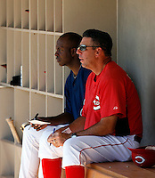 Aaron Holbert (left) of the Cleveland Indians and Julio Garcia (right) of the Cincinnati Reds 2009 Instructional League. Holbert and Garcia are co-managers of the Goodyear team in the Arizona Advanced Instructional League..Photo by:  Bill Mitchell/Four Seam Images..