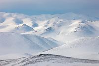 Snow covered Brooks Range mountains, north of Chandalar Lake, Arctic Alaska.