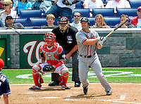 4 July 2009: Atlanta Braves' catcher David Ross in action against the Washington Nationals at Nationals Park in Washington, DC. The Nationals defeated the Braves 5-3 to take the second game of the 3-game weekend series. Mandatory Credit: Ed Wolfstein Photo