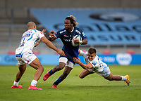 21st August 2020; AJ Bell Stadium, Salford, Lancashire, England; English Premiership Rugby, Sale Sharks versus Exeter Chiefs;  Marland Yarde of Sale Sharks  is tackled by Olly Woodburn and Joe Simmonds (C) of Exeter Chiefs