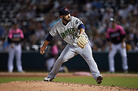 Gwinnett Stripers relief pitcher Chasen Bradford (28) in action against the Charlotte Knights at Truist Field on July 17, 2021 in Charlotte, North Carolina. (Brian Westerholt/Four Seam Images)