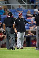 Altoona Curve manager Michael Ryan (12) talks with an umpire during a game against the Binghamton Rumble Ponies on May 17, 2017 at NYSEG Stadium in Binghamton, New York.  Altoona defeated Binghamton 8-6.  (Mike Janes/Four Seam Images)