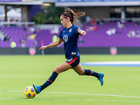 ORLANDO, FL - FEBRUARY 21: Alex Morgan #13 of the USWNT warms up before a game between Brazil and USWNT at Exploria Stadium on February 21, 2021 in Orlando, Florida.