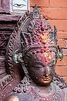Nepal, Patan.  Buddha Statue inside the Golden Temple (Kwa Baha).