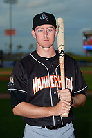 Jupiter Hammerheads Brian Miller (5) poses for a photo before a game against the Clearwater Threshers on April 9, 2018 at Spectrum Field in Clearwater, Florida.  Jupiter defeated Clearwater 9-4.  (Mike Janes/Four Seam Images)