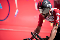 Thomas de Gendt (BEL/Lotto-Soudal) rolling in with a cannon fastest time (up until then) > it would take the best 2 guys in the GC to eventually beat that time<br /> <br /> Stage 13 (ITT): Pau to Pau (27km)<br /> 106th Tour de France 2019 (2.UWT)<br /> <br /> ©kramon