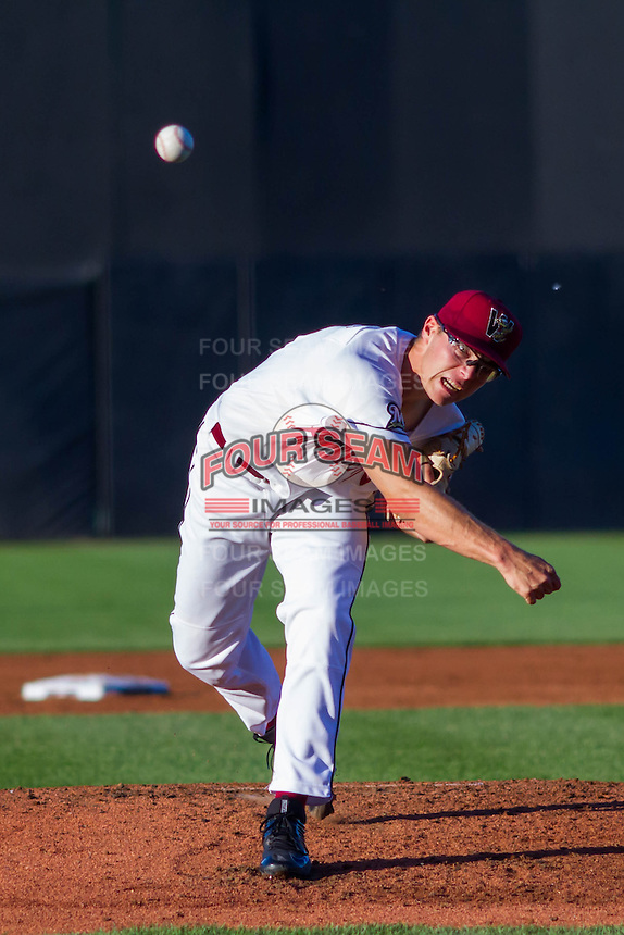 Wisconsin Timber Rattlers pitcher Corbin Burnes (19) delivers a pitch during a Midwest League game against the Peoria Chiefs on July 9, 2016 at Fox Cities Stadium in Appleton, Wisconsin. Peoria defeated Wisconsin 3-2. (Brad Krause/Four Seam Images)