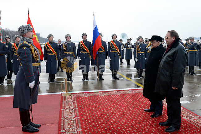 Palestinian President Mahmoud Abbas reviews Russian Honour guard during an official welcome ceremony upon his arrival to Moscow on March 13, 2013. Abbas is on his official visit to Russia. Photo by Thaer Ganaim