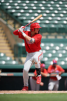 Philadelphia Phillies Alec Bohm (18) at bat during a Florida Instructional League game against the Baltimore Orioles on October 4, 2018 at Ed Smith Stadium in Sarasota, Florida.  (Mike Janes/Four Seam Images)