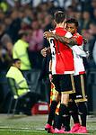 Nederland, Rotterdam, 24 september 2015<br /> KNVB Beker<br /> Seizoen 2015-2016<br /> Feyenoord-PEC Zwolle (3-0)<br /> Colin Kazim-Richards van Feyenoord omhelst Michiel Kramer van Feyenoord voordat hij het veld ingaat