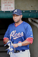 Andy Marte (8) of the Reno Aces prior to the game against the Salt Lake Bees at Smith's Ballpark on May 4, 2014 in Salt Lake City, Utah.  (Stephen Smith/Four Seam Images)