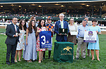 """October 09,, 2021: #3 In Love (BRZ) and jockey Alex Achard win the  36th running of the Keeneland Turf Mile Grade 1 $750,000 """"Win and You're In Breeders' Cup Mile Division""""  at Keeneland Racecourse in Lexington, KY on October 09, 2021.  Candice Chavez/ESW/CSM"""