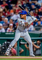 21 September 2018: New York Mets first baseman Dominic Smith in action against the Washington Nationals at Nationals Park in Washington, DC. Smith went 1 for 4 with an RBI as the Mets defeated the Nationals 4-2 in the second game of their 4-game series. Mandatory Credit: Ed Wolfstein Photo *** RAW (NEF) Image File Available ***