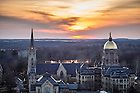 March 29, 2016; Basilica of the Sacred Heart and Golden Dome at sunset. Photo by Barbara Johnston/University of Notre Dame6; The Basilica of the Sacred Heart and Main Building.  (Photo by Barbara Johnston/University of Notre Dame)