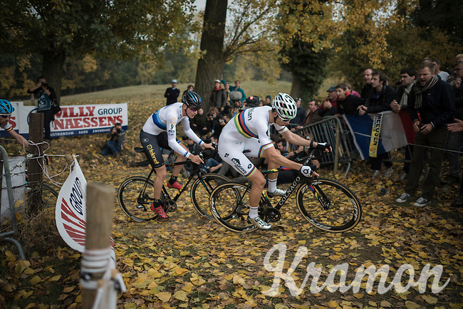 World Champion Wout Van Aert (BEL/Crelan-Vastgoedservice) leading up the Koppenberg ahead of fresh European Champion Toon Aerts (BEL/Telenet-Fidea)<br /> <br /> 25th Koppenbergcross 2016