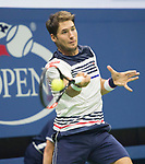 August 29,2017:   Dusan Lajovic (SRB) loses to Rafael Nadal (ESP) 7-6, 6-2 in the first two sets at the US Open being played at Billy Jean King Ntional Tennis Center in Flushing, Queens, New York.  ©Leslie Billman/EQ/EQ