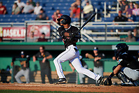 Batavia Muckdogs Brayan Hernandez (23) bats during a NY-Penn League game against the West Virginia Black Bears on June 25, 2019 at Dwyer Stadium in Batavia, New York.  Batavia defeated West Virginia 7-3.  (Mike Janes/Four Seam Images)